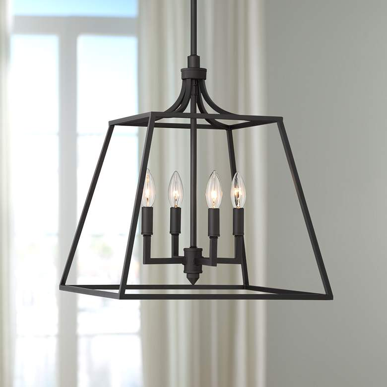 "Meli 16"" Wide Bronze 4-Light Entry Pendant Light"