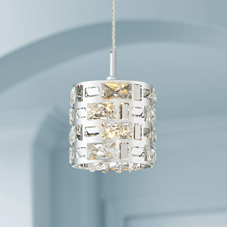 "Possini Euro Crystal Rain 6"" Wide Chrome Mini LED Pendant"