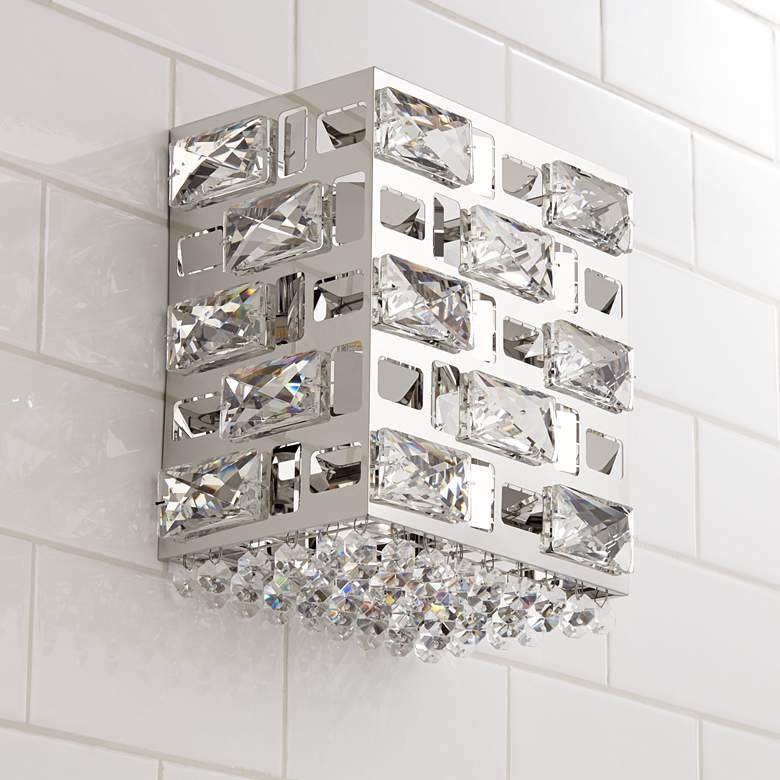 "Possini Euro Crystal Rain 8"" High Chrome LED Wall Sconce"