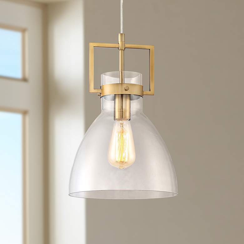 "Olney 10"" Wide Warm Brass and Glass Mini Pendant Light"