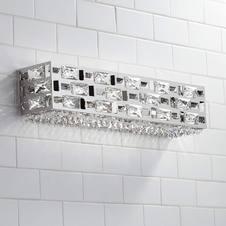 "Possini Euro Crystal Rain 24"" Wide Chrome LED Bath Light"