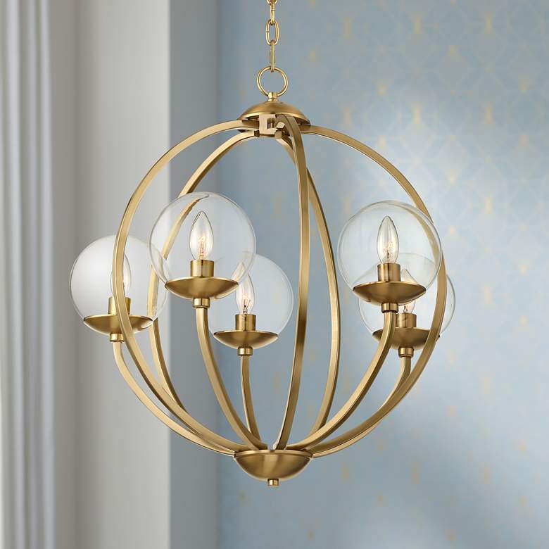 "Tessa 23 1/2"" Wide 5-Light Warm Brass Pendant Light"