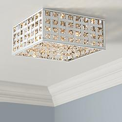 "Possini Euro Antwerp 15"" Wide Chrome LED Ceiling Light"