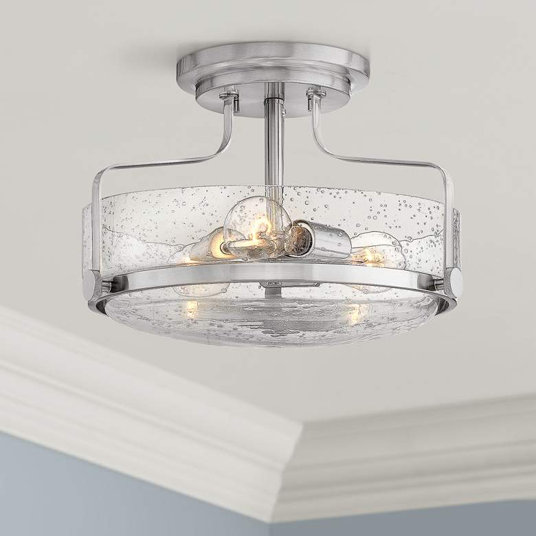 "Hinkley Harper 14 1/2""W Brushed Nickel 3-Light Ceiling"