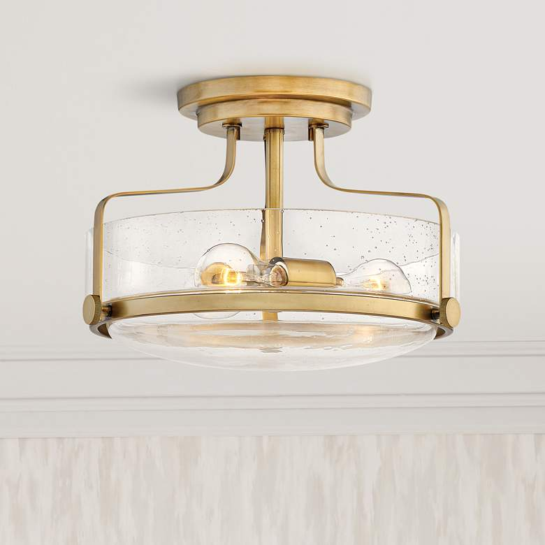 "Hinkley Harper 14 1/2""W Heritage Brass 3-Light Ceiling Light"
