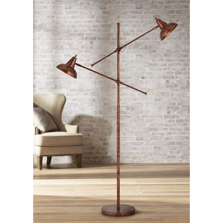 Canterbury Rust Metal 2-Light Adjustable Floor Lamp