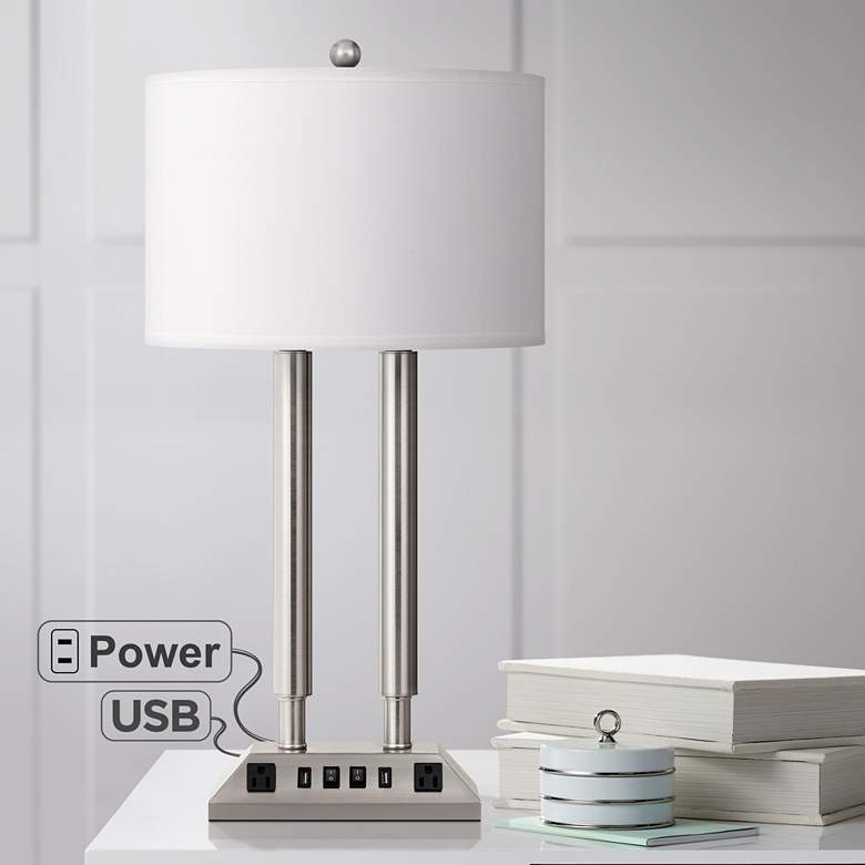 Carver Brushed Steel Metal Hotel Desk Lamp with