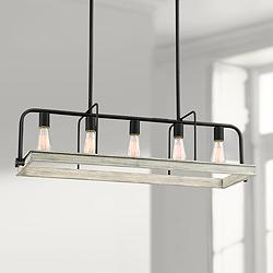 "Santorini 36"" Wide Gray Wood Kitchen Island Light Pendant"