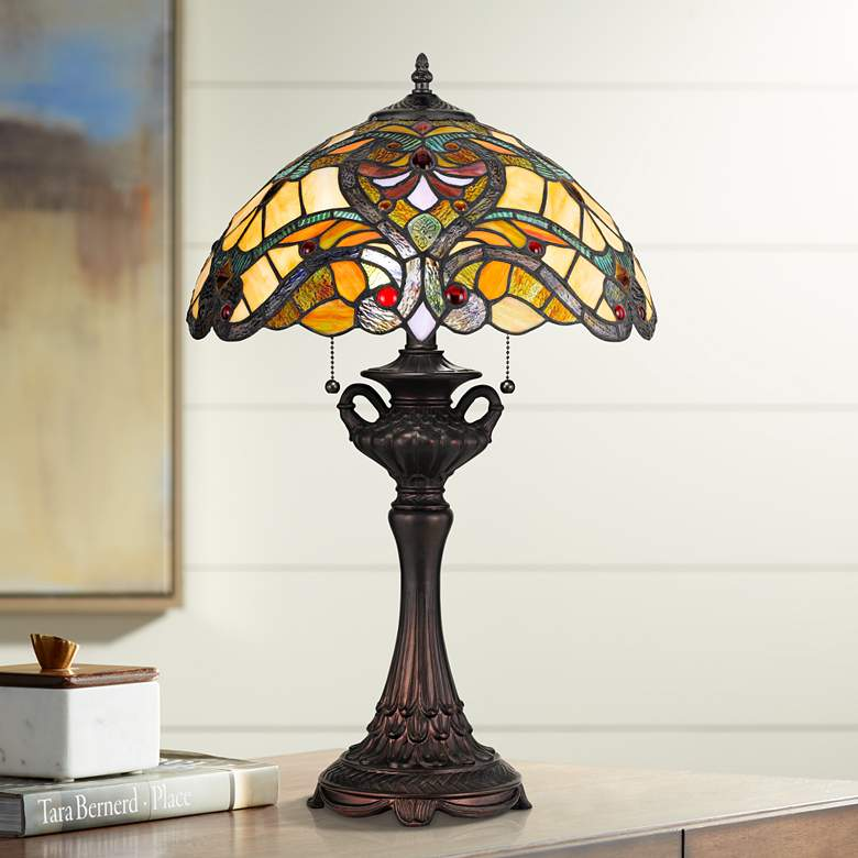 Markham Tiffany-Style Table Lamp with Pull Chain Switch