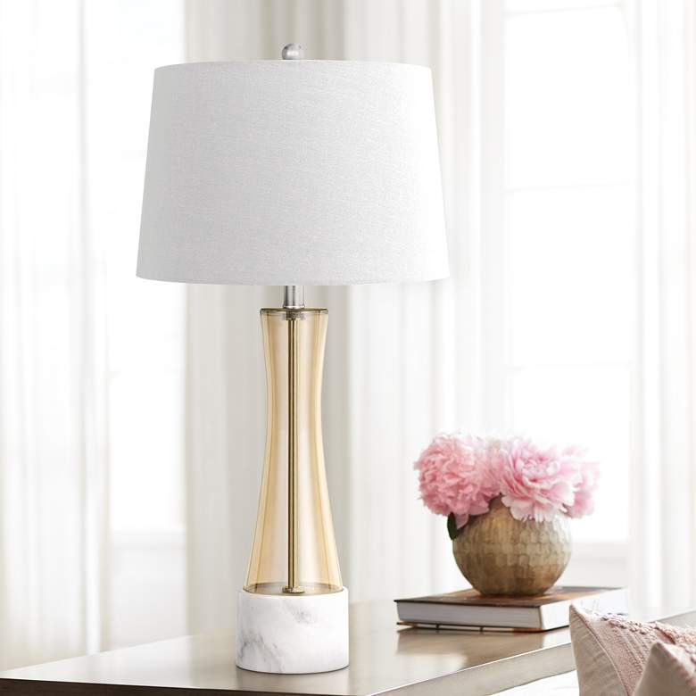 Cabra Amber Glass Table Lamp with Marble Base