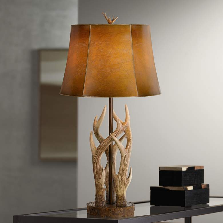 Darby Antler Brown and Bone Table Lamp w/