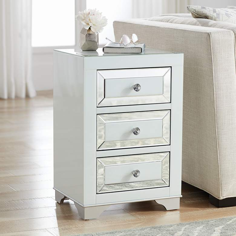 Addison White Mirrored 3-Drawer Side Table