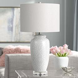 Corato Pearly White Ceramic Floral Jar Table Lamp