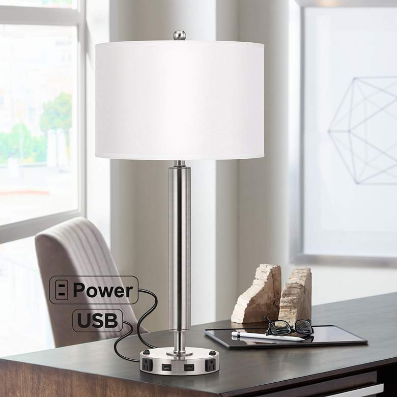 Carver Double Light Brushed Steel USB Hotel Table Lamp