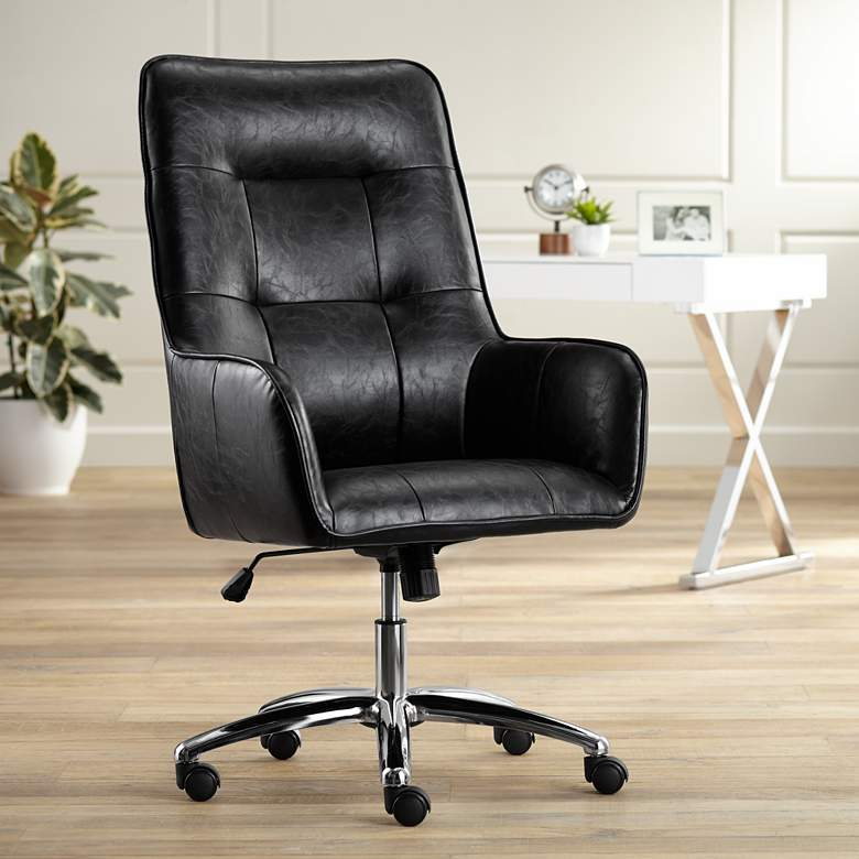 Javen Black Faux Leather Swivel Office Chair