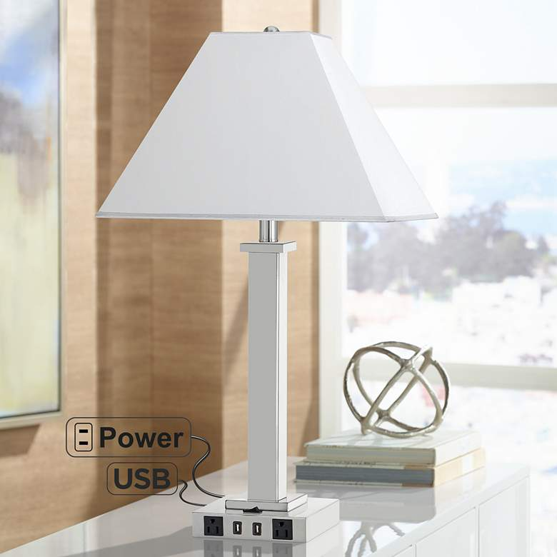 Maxim Single Light Brushed Steel USB Nightstand Table Lamp