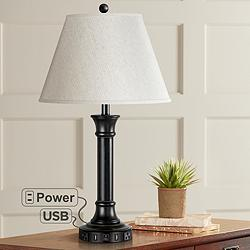 Conlyn Single Light Dark Bronze USB Nightstand Table Lamp
