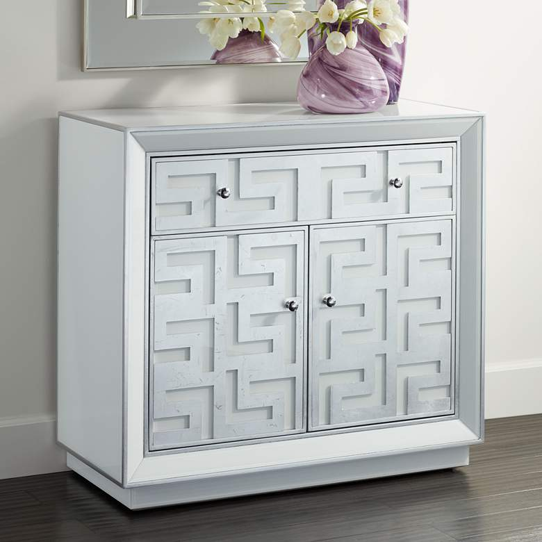 "Bodrum 35"" Wide 1-Drawer 2-Door Antique Silver Cabinet"