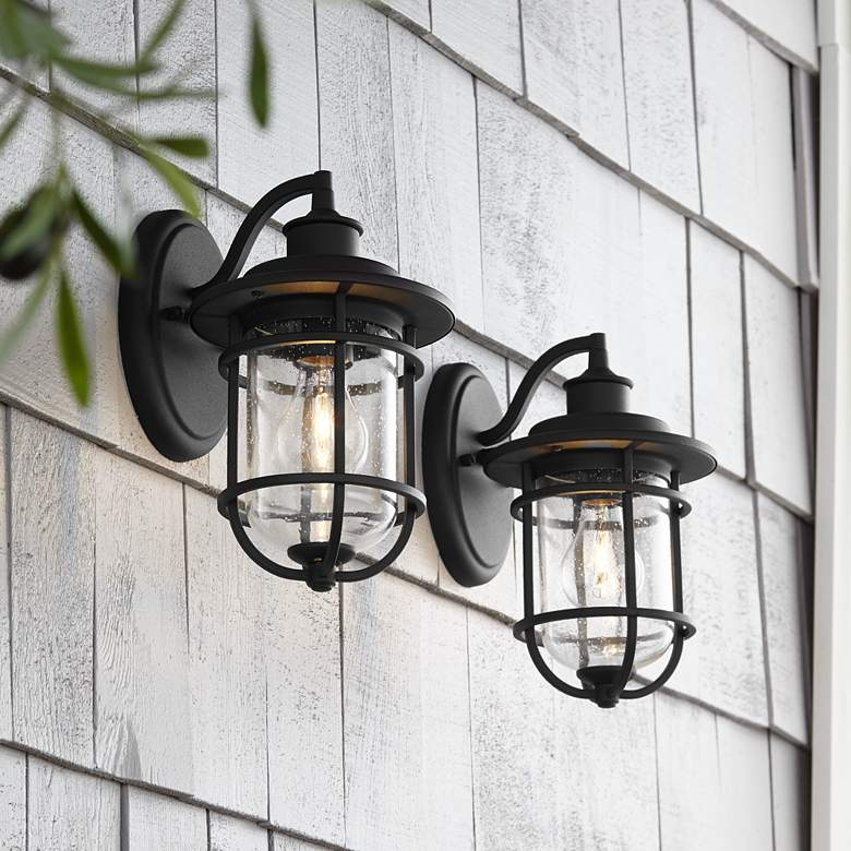 "Markham 10 1/2""H Textured Black Outdoor Wall Lights Set of 2"