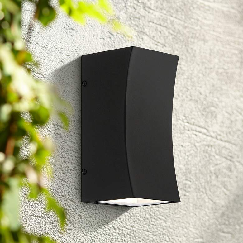 "Fusion 8""H Textured Black LED Up and Down Outdoor Wall Light"