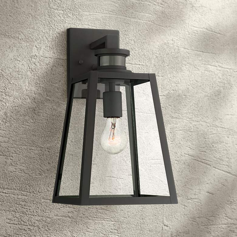 "Arrington 14 3/4"" H Black Motion Sensor Outdoor Wall Light"