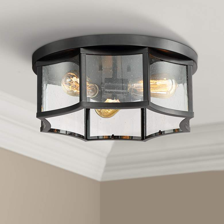 "Carson 16"" Wide Bronze and Seedy Glass Ceiling Light"