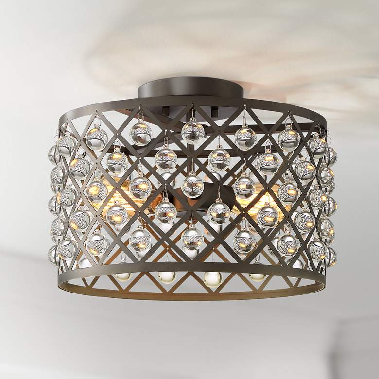 "Justin 15"" Wide Bronze Mesh Drum 2-Light Ceiling Light"