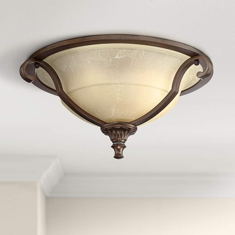 "Fitzgerald 16 3/4"" Wide Heritage Bronze Bowl Ceiling Light"