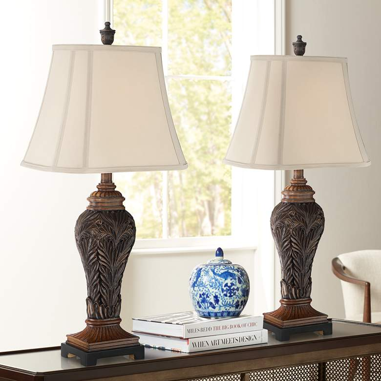 Leafwork Bronze Vase Table Lamps Set of 2