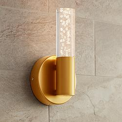 "Natalya Bubble Acrylic Tube 9"" High Soft Gold LED Sconce"