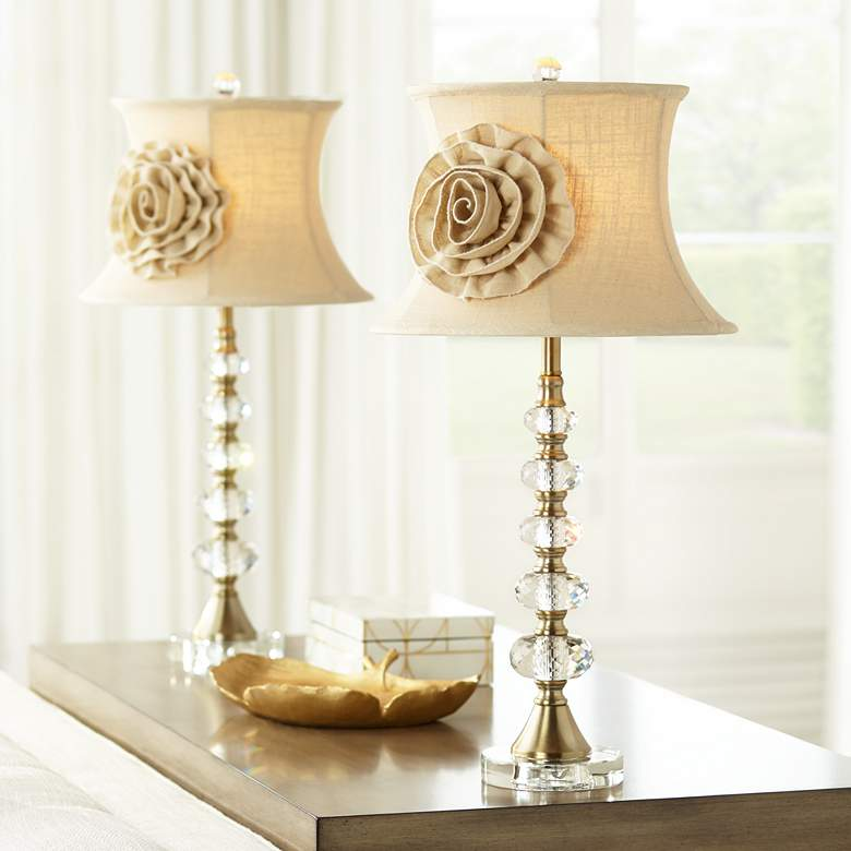Hilary Flower Shade Crystal Column Table Lamps Set of 2