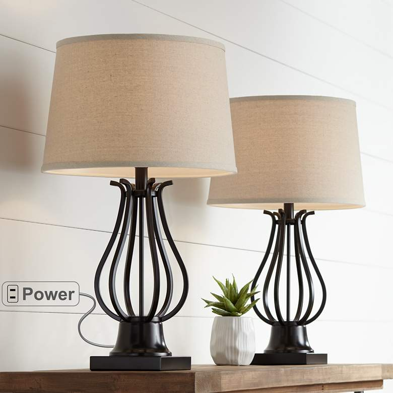Hadley Bronze Metal Table Lamps Set of 2
