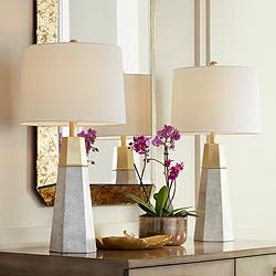 Julie Tapered Column Table Lamps Set of 2