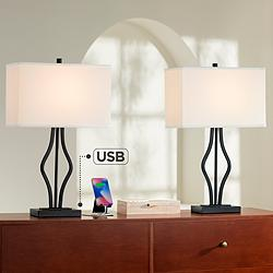 Ally Black Metal USB Table Lamps Set of 2