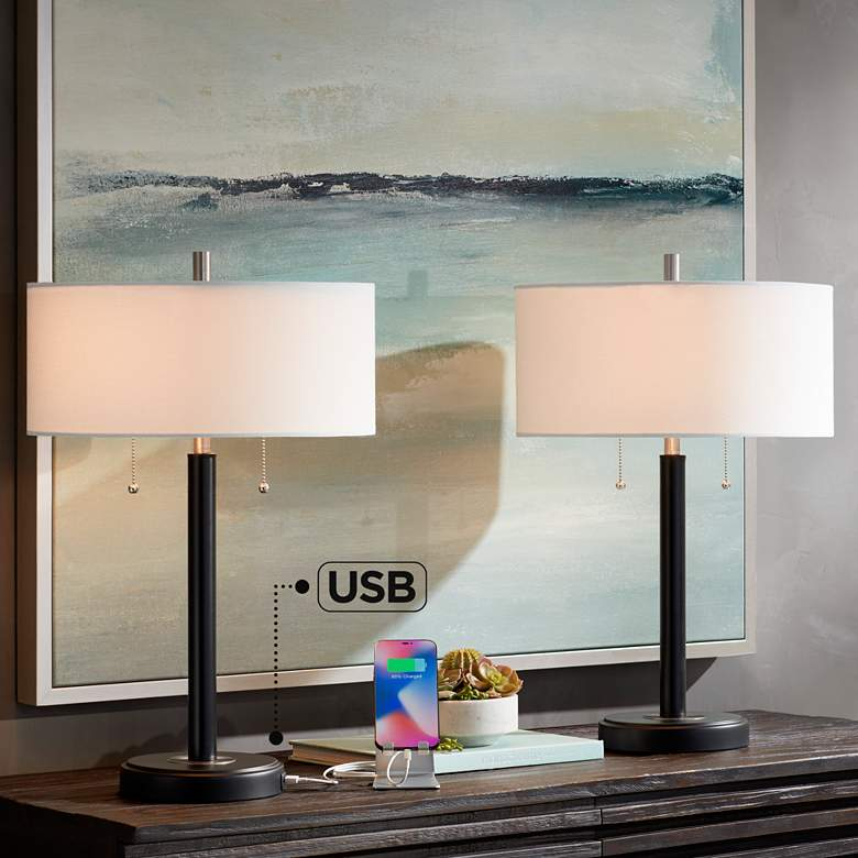 Kevin Black Metal USB Accent Table Lamps Set