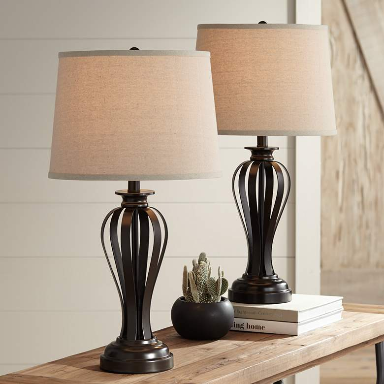 Freddie Bronze Metal Table Lamps Set of 2