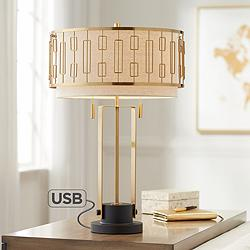 Possini Euro Raymond Gold Metal Table Lamp with USB Port