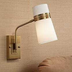 Cartwright Warm Antique Brass Hardwire Wall Lamp