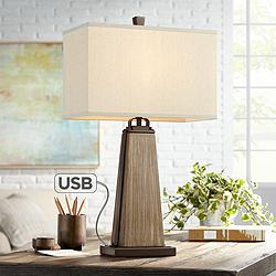 Jeri Faux Wood Table Lamp with USB Port