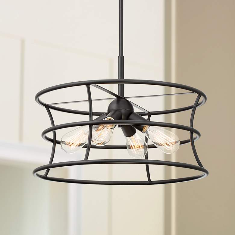 "Felix 20"" Wide Oil-Rubbed Bronze 4-Light Pendant Light"