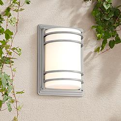 "Habitat 11"" High Silver and Opal Glass Outdoor Wall Light"