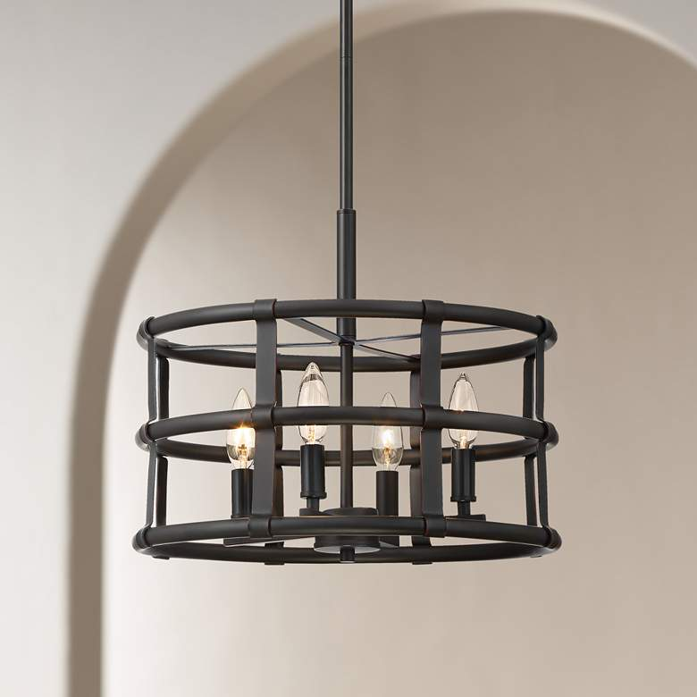 "Markham 16 1/4"" Wide Oil-Rubbed Bronze 4-Light Pendant Light"