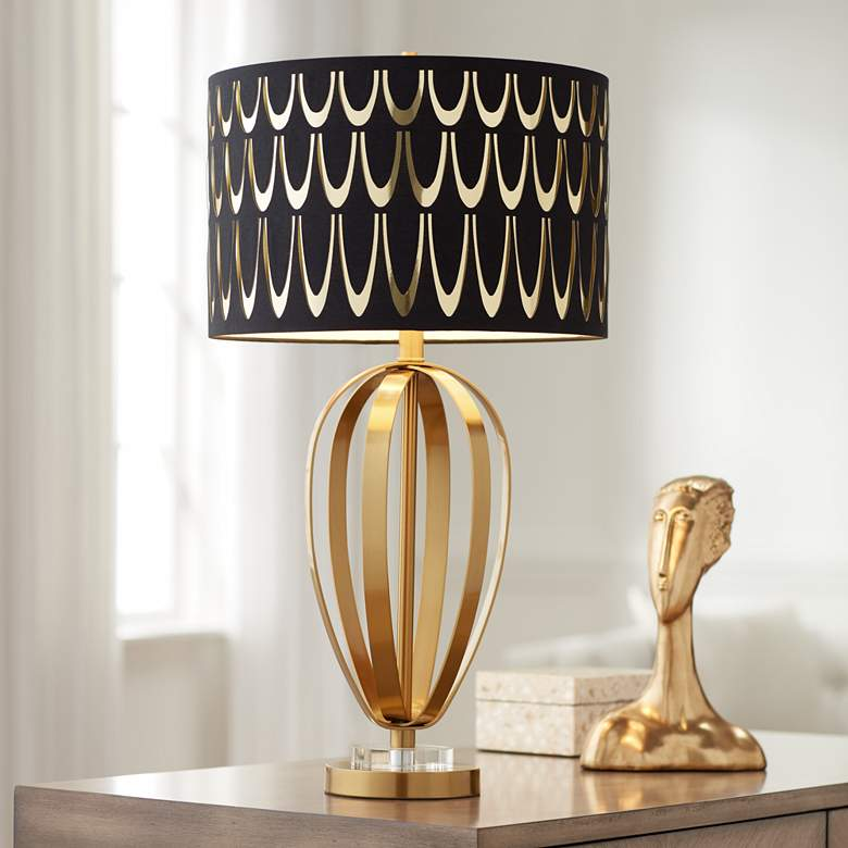 Possini Euro Raquel Brass Metal Table Lamp