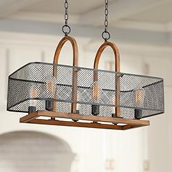 "Melo 30 1/4""W Wood and Black Kitchen Island Light Chandelier"