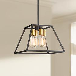 "Darcey 15"" Wide Antique Bronze 4-Light Pendant Light"