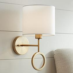 Amidon Warm Brass Drop Ring Hardwire Wall Lamp