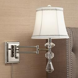 Maddie Polished Nickel Crystal Swing Arm Wall Lamp