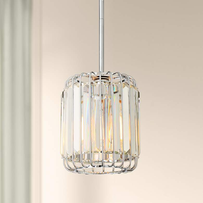 "Possini Euro Deacon 8"" Wide Crystal Mini Pendant"