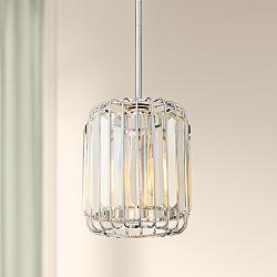 "Possini Euro Deacon 8"" Wide Crystal Mini Pendant Light"
