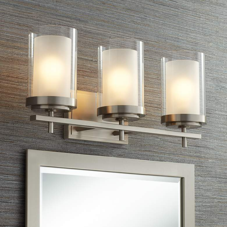 "Sannah 22""W Double Glass Nickel Bath Light"